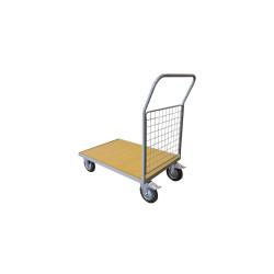 Chariot 500 kg plateau bois 1 dossier 1200x800 mm