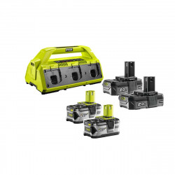 Pack NRJ RYOBI 18V - 1 chargeur 6 ports Lithium-ion RC18-627 - 2 batteries 2,0 Ah RB18L20 - 2 batteries 4,0 Ah RB18L40