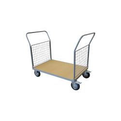 Chariot 500 kg plateau bois 2 dossiers 1200x800 mm