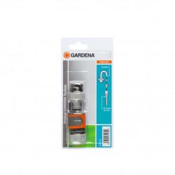 """Kit d'arrosage pour robinet intérieur 13 mm 1/2"""" - 15 mm 5/8"""" - 1 raccord - 1 adaptateur - 1 nez de robinet GARDENA - 18285-20"""