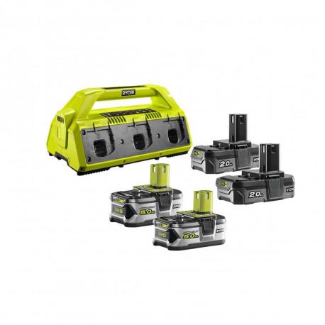 Pack NRJ RYOBI 18V - 1 chargeur 6 ports Lithium-ion RC18-627 - 2 batteries 2,0 Ah RB18L20 - 2 batteries 5,0 Ah RB18L50