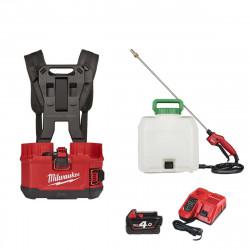 Pack MILWAUKEE pulvérisateur à dos M18 BPFPH-401 - 1 batterie 18V 4.0 Ah - 1 Chargeur - harnais - Réservoir 15 L produits chimiques