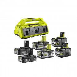 Pack NRJ RYOBI 18V - 1 chargeur 6 ports Lithium-ion RC18-627 - 2 batteries 2,0Ah RB18L20 - 2 batteries 5,0 Ah RB18L50 - 2 batteries 9,0 Ah High Energy RB18L90