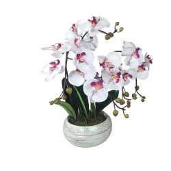 Composition artificielle Orchidée zen blanche striée mauve 5 tiges - 55cm