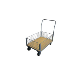 Chariot 250 kg plateau bois 1 dossier - 4 demi-ridelles 1000x700 mm