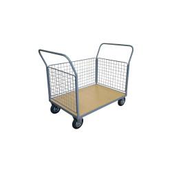 Chariot 250 kg plateau bois 3 ridelles 1200x800 mm