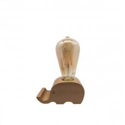 Lampe de chevet en bois forme Eléphant - 4W - E27