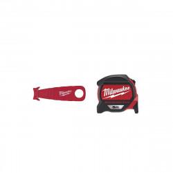Pack MILWAUKEE Mètre ruban magnétique premium 8m - Cutter de sécurité