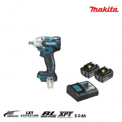 Boulonneuse à chocs brushless MAKITA 18V - 2 batteries BL1850B 5.0Ah - 1 chargeur rapide DC18RC DTW285RTJ