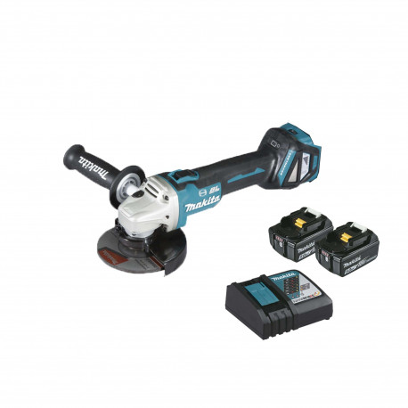 Meuleuse brushless MAKITA 18V 125mm - 2 batteries BL1850 5.0Ah - 1 chargeur rapide DC18RC DGA513RTJ