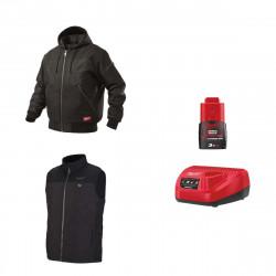 Pack MILWAUKEE Taille M - Blouson noir à capuche WGJHBL - Veste chauffante sans manche HBWP - Chargeur de batterie 12V M12 C12 C- Batterie M12 3.0 Ah