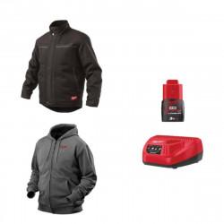 Pack MILWAUKEE Taille S - Blouson noir WGJCBL - Sweat gris chauffant HHBL - Chargeur de batterie 12V M12 C12 C - Batterie M12 3.0 Ah