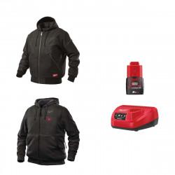 Pack MILWAUKEE Taille XL - Blouson noir à capuche WGJHBL - Sweat chauffant HHBL - Chargeur de batterie 12V M12 C12 C - Batterie M12 3.0 Ah