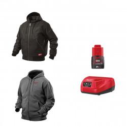 Pack MILWAUKEE Taille M - Blouson noir à capuche WGJHBL - Sweat gris chauffant HHBL - Chargeur de batterie 12V M12 C12 C - Batterie M12 3.0 Ah
