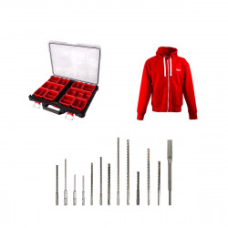 Pack MILWAUKEE organiseur 10 casiers slim PACKOUT - veste zippée Taille L - 12 forêts - 1 burin