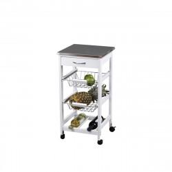 Chariot de cuisine KIT CLOSET - Blanc et inox - 76 x 37 x 37 cm