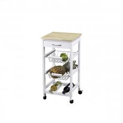 Chariot de cuisine KIT CLOSET - Blanc et bois - 76 x 37 x 37 cm