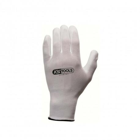 Boîte de 12 paires de gants KS TOOLS - Microfibres - Blanc - Taille L - 310.0450