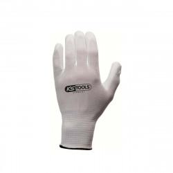 Boîte de 12 paires de gants KS TOOLS - Microfibres - Blanc - Taille XL - 310.0455