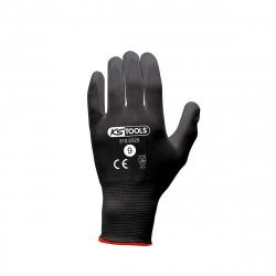 Boîte de 12 paires de gants KS TOOLS - Microfibres - Noir - Taille L - 310.0325