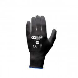 Boîte de 12 paires de gants KS TOOLS - Microfibres - Noir - Taille XL - 310.0330