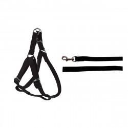 Pack ZOLUX Harnais noir en Nylon 25mm - laisse noire 1m