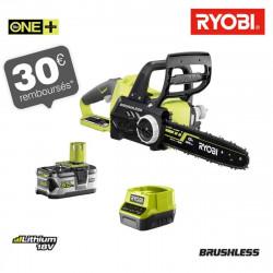 Tronçonneuse Brushless RYOBI 18V OnePlus moteur - 1 batterie 5.0Ah - 1 chargeur RCS18X3050F