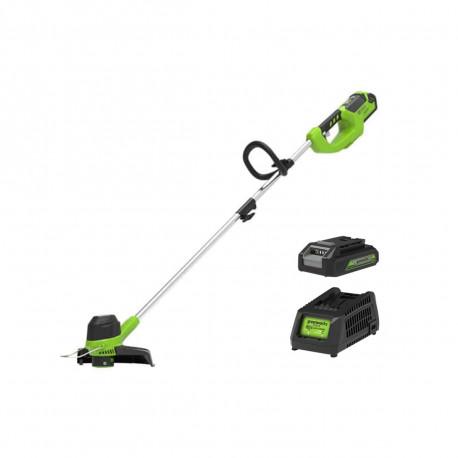 coupe-bordure sans fil 40v greenworks avec batterie et chargeur