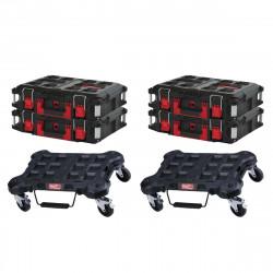 Pack MILWAUKEE PACKOUT 2 Trolleys plats - 4 Coffrets de transport 40L Taille 2