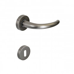 Poignée de porte avec Rosace ronde à clé SEVEN ITALIA Zamak - Finition nickelé satiné - 45x130x69mm