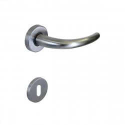 Poignée de porte avec Rosace ronde à clé SEVEN ITALIA Zamak - Finition chrome satiné - 45x130x69mm