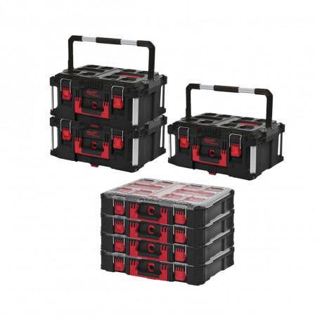 Pack MILWAUKEE PACKOUT 3 Coffrets de transport 62L Taille 3 - 4 Organiseurs 10 casiers épais