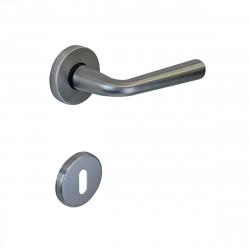 Poignée de porte avec Rosace ronde à clé SEVEN ITALIA Zamak - Finition Chrome satiné - 50x136x57mm