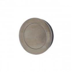 Poignées cuvettes ronde à encastrer - Avec platine poussoir - Diamètre 80 mm - Inox Brossé