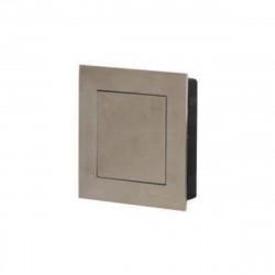 Poignées cuvettes carrée à encastrer - Avec platine poussoir - Diamètre 80 mm - Inox Brossé