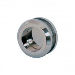 Poignée cuvette double ronde pour porte en verre - Diamètre 58 mm - Chrome brillant