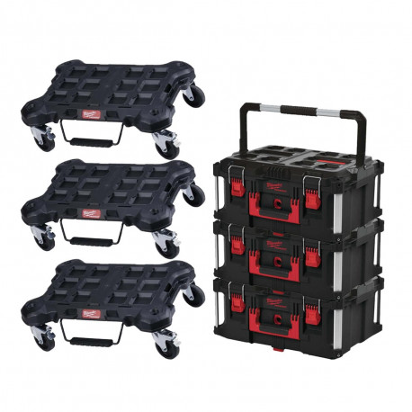 Pack MILWAUKEE PACKOUT 3 Trolleys plat - 3 Coffrets de transport 62L Taille 3