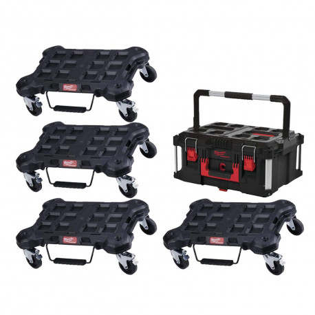 Pack MILWAUKEE PACKOUT 4 Trolleys plat - 1 Coffret de transport 62L Taille 3