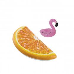 Pack Matelas de plage gonflable Quartier d'orange 178x85 cm - Pose-verre flottant modèle flamant rose