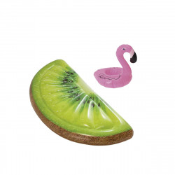 Pack Matelas de plage gonflable tranche de kiwi 178x85 cm - Pose-verre flottant modèle flamant rose