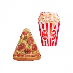 Pack Matelas de plage gonflable pop corn 178x124 cm - Matelas de plage gonflable part de pizza 175x145 cm
