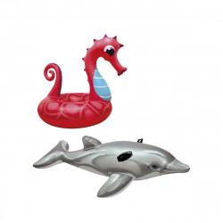 Pack Bouée gonflable hippocampe 91 cm - Matelas de plage gonflable dauphin 175 cm