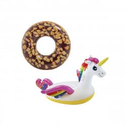 Pack Bouée gonflable donut au chocolat 114 cm de diamètre - Bouée gonflable licorne 201x140x97 cm