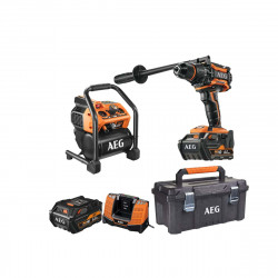 Pack AEG Perceuse percussion Brushless 18V BSB18BL-602C - Compresseur 18V BK18-38BL-0 - Caisse de rangement