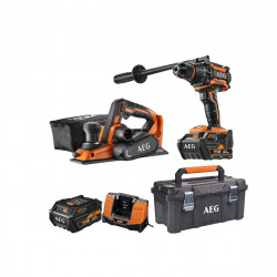 Pack AEG Perceuse percussion Brushless 18V BSB18BL-602C - Rabot 18V 82 mm Li-ion BHO18BL-0 - Caisse de rangement