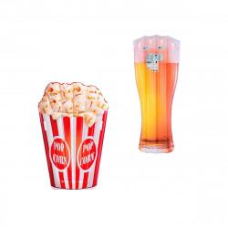 Pack Matelas de plage gonflable verre de bière180x75 cm - Matelas de plage gonflable pop corn 178x124 cm