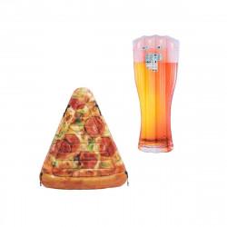 Pack Matelas de plage gonflable verre de bière180x75 cm - Matelas de plage gonflable part de pizza 175x145 cm
