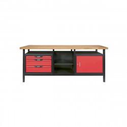 Etabli KS TOOLS professionnel - Rouge - 4 tiroirs - 190,5x63,5x85,5cm - 865.0210