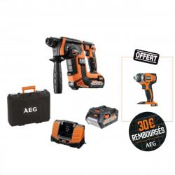 Pack AEG Perforateur Burineur 18V SDSPLUS brushless - 2 batteries 5,0Ah - 1 chargeur - BBH18BL-502C - 1 visseuse à choc sans fil