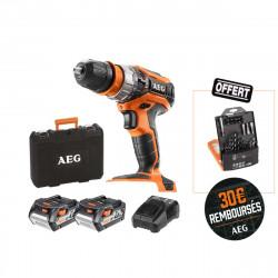 Perceuse à percussion AEG 18V - 2 batteries 4.0Ah - 1 chargeur BSB18C2XLI-402CA - Coffret d'accessoires 30 pcs AAKDD30 offert
